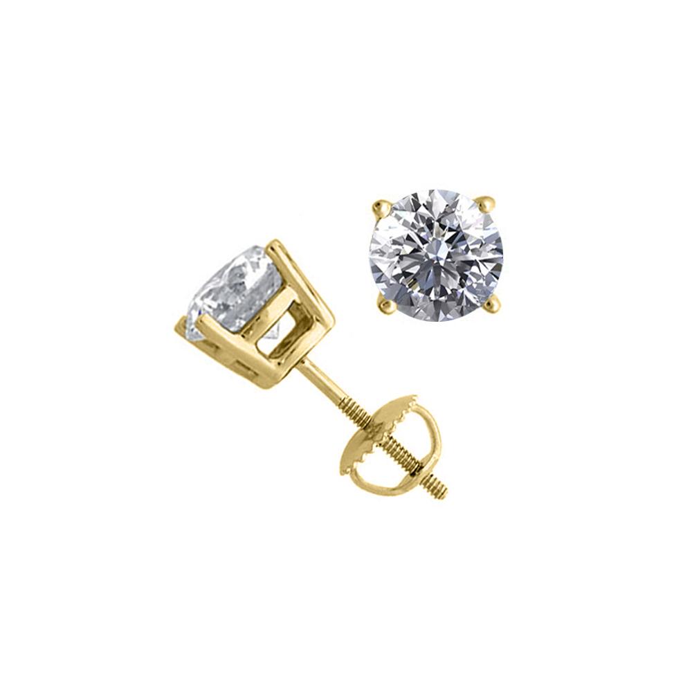 14K Yellow Gold 2.04 ctw Natural Diamond Stud Earrings - REF-519A2W-WJ13333