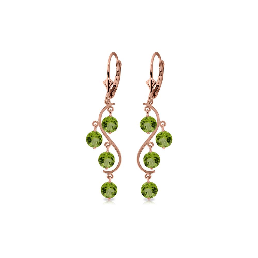 Genuine 4.95 ctw Peridot Earrings Jewelry 14KT Rose Gold - REF-53N8R