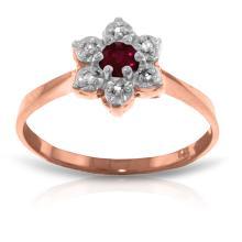 Genuine 0.23 ctw Ruby & Diamond Ring Jewelry 14KT Rose Gold - REF-30A6K