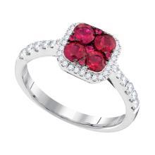 1.1 CTW Ruby Square Cluster Diamond Ring 14KT White Gold - REF-89W9K