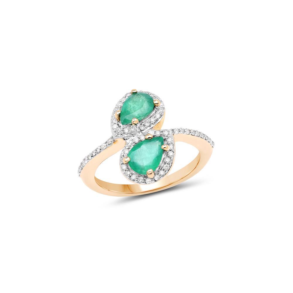2.06 CTW Zambian Emerald & White Zircon Ring 14K Yellow Gold - REF-64W2F