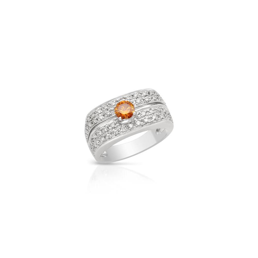 Natural 0.74 CTW Diamond & Yellow Diamond Ring 18K White Gold - REF-107M2F