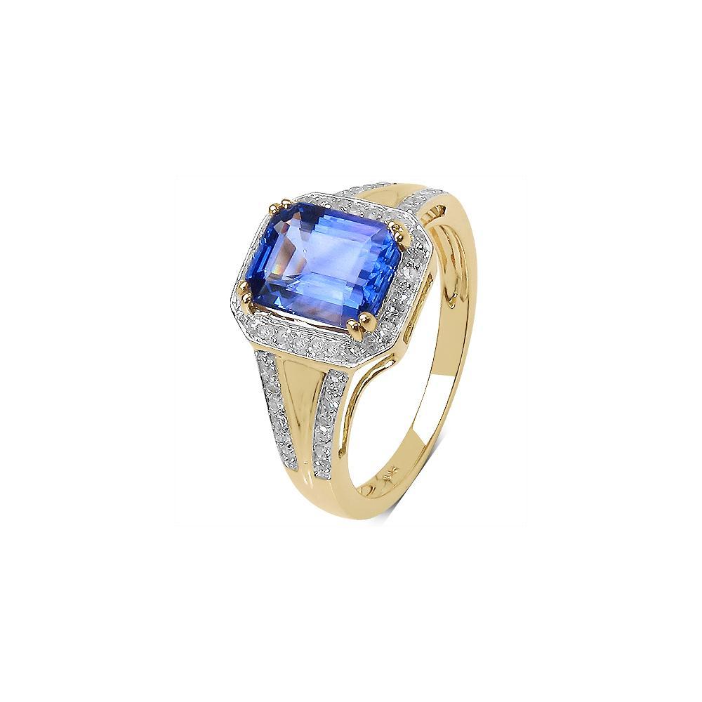 2.41 CTW Tanzanite & 0.29 CTW Diamond Ring 14K Yellow Gold - REF-131M2A
