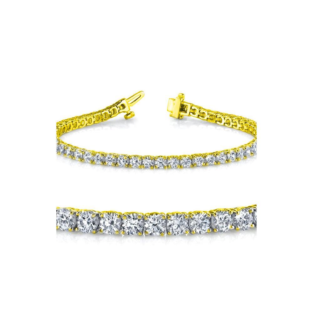 Natural 5ct VS-SI Diamond Tennis Bracelet 18K Yellow Gold - REF-452R2N