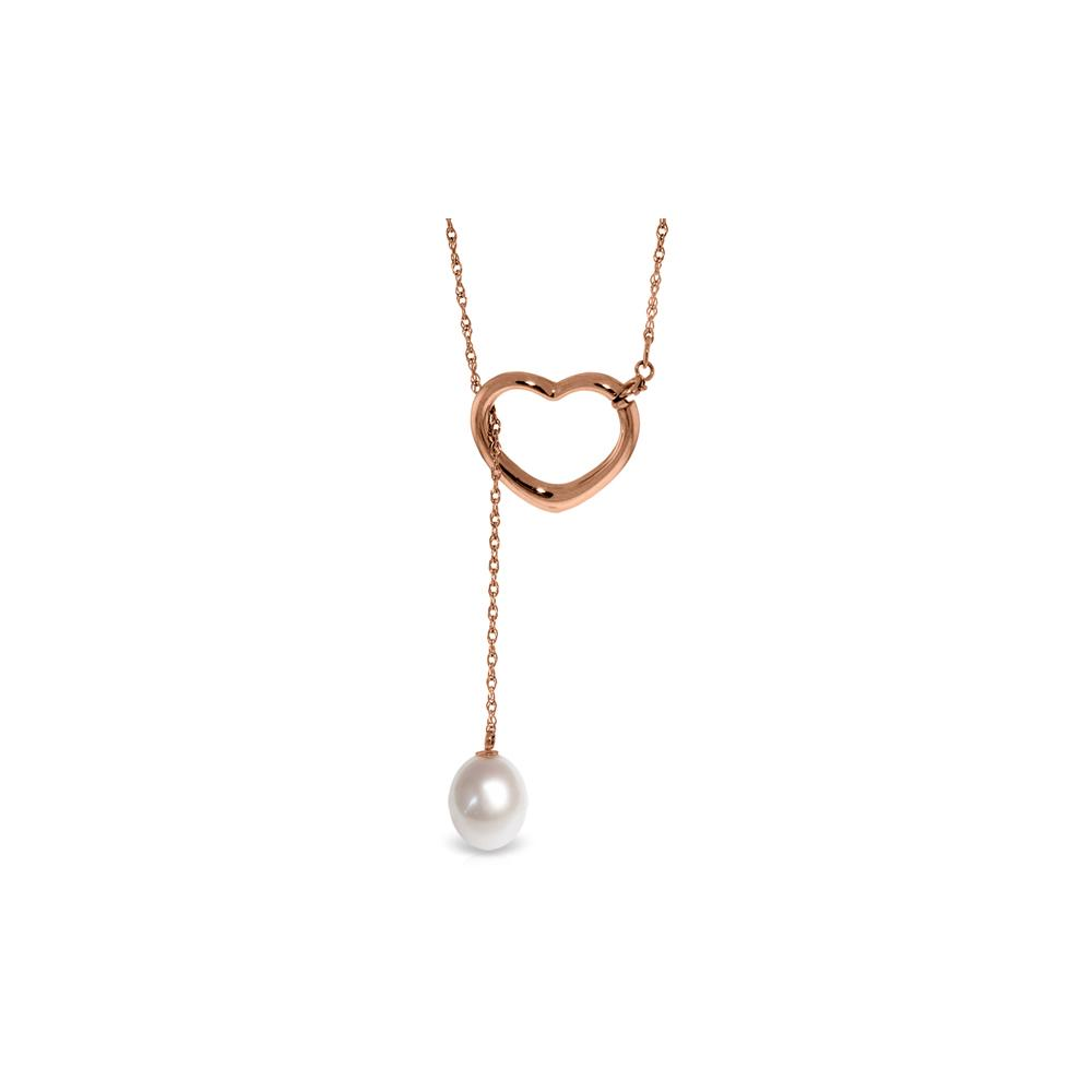 Genuine 4 ctw Pearl Necklace Jewelry 14KT Rose Gold - REF-31Z4N