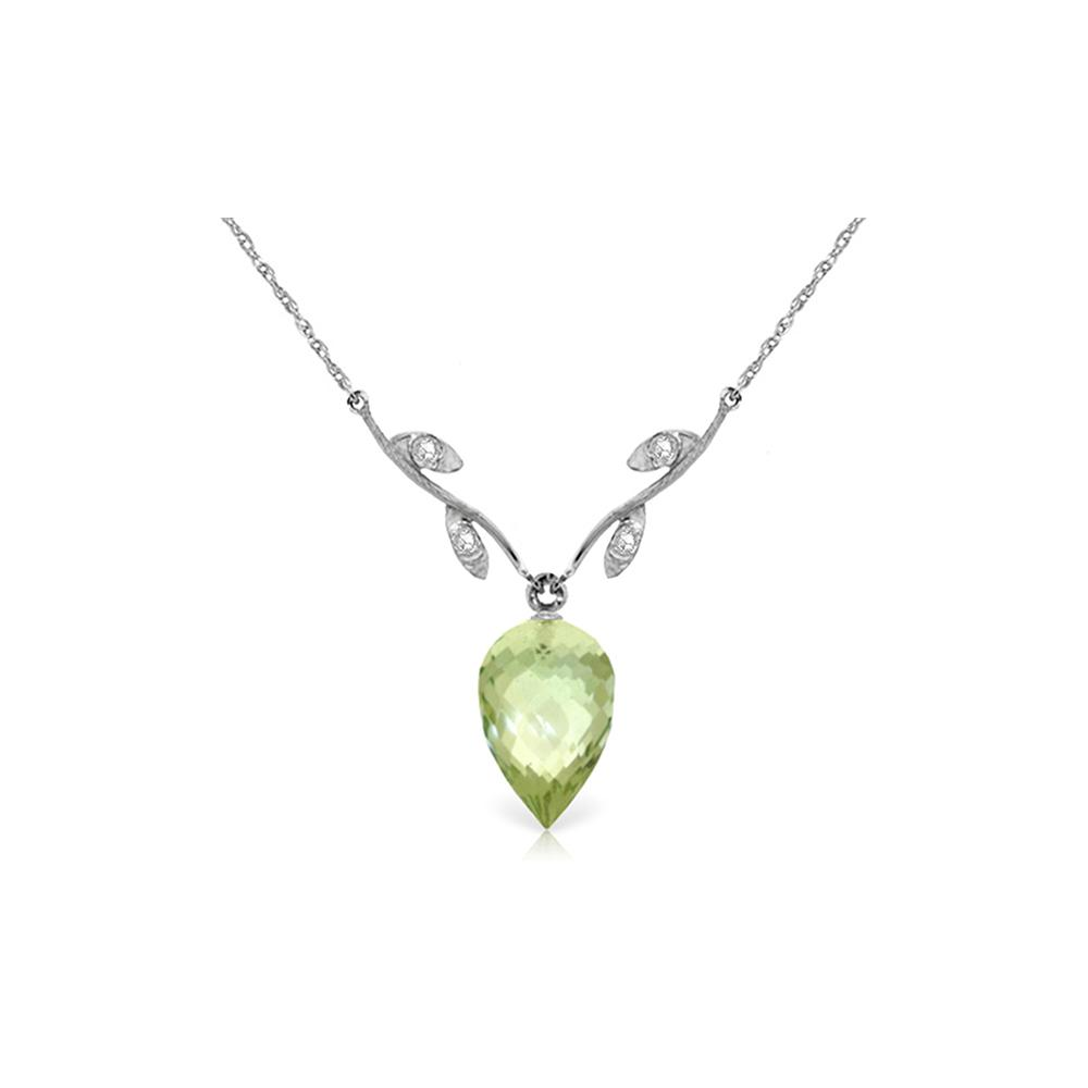 Genuine 9.52 ctw Green Amethyst & Diamond Necklace Jewelry 14KT White Gold - REF-36N3R