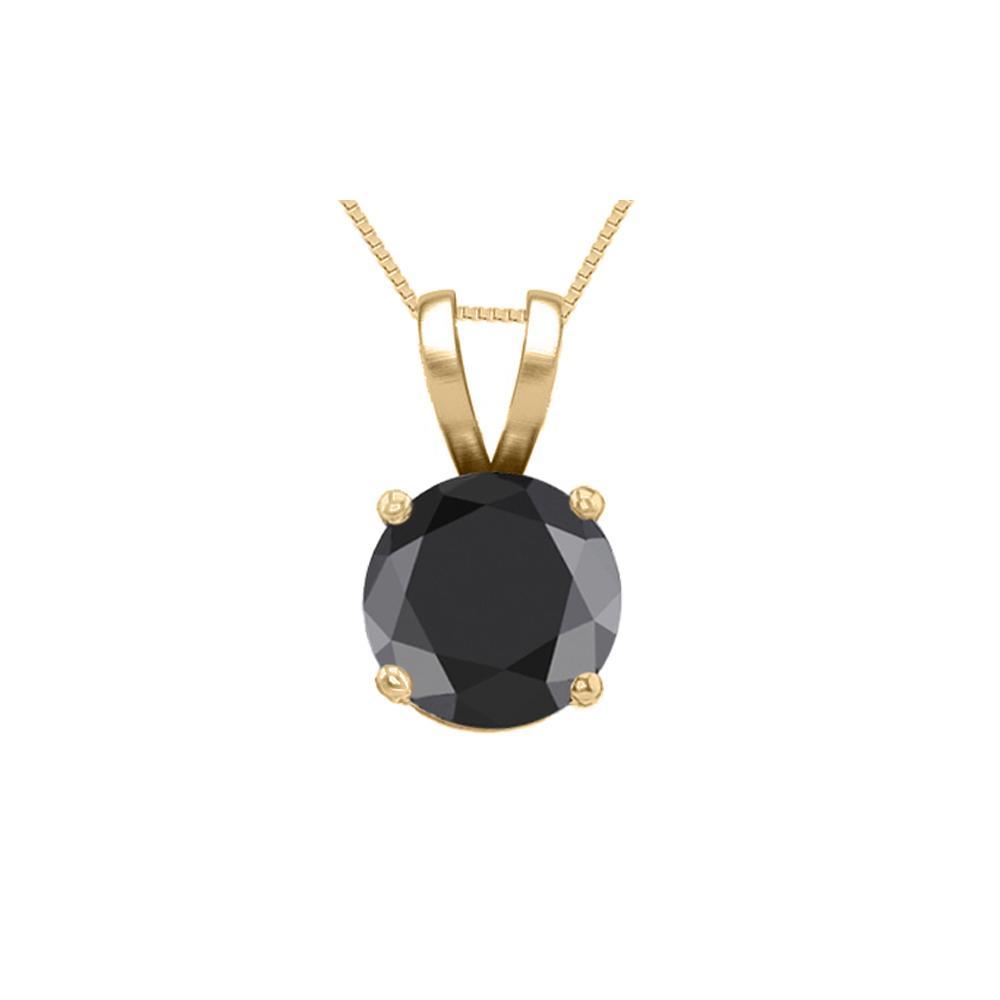 14K Yellow Gold 0.75 ct Black Diamond Solitaire Necklace - REF-53Z7A-WJ13314