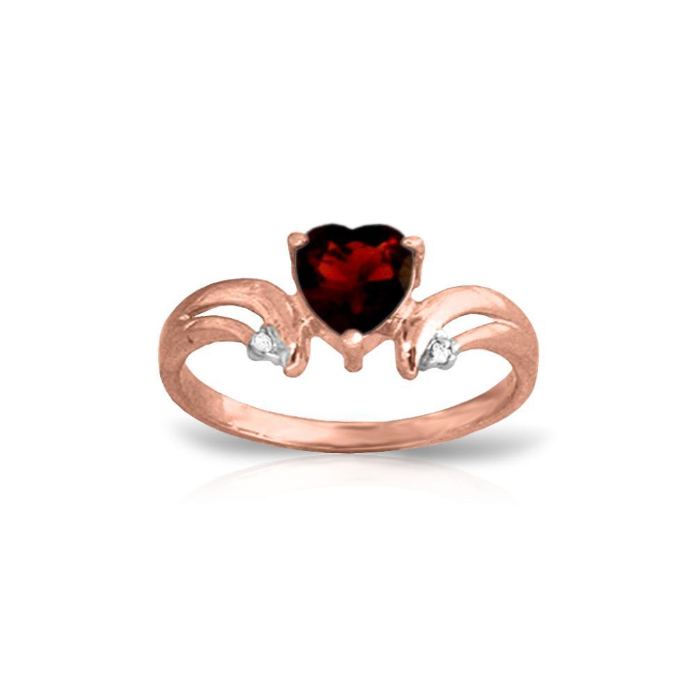 Genuine 1.26 ctw Garnet & Diamond Ring Jewelry 14KT Rose Gold - REF-42V2W