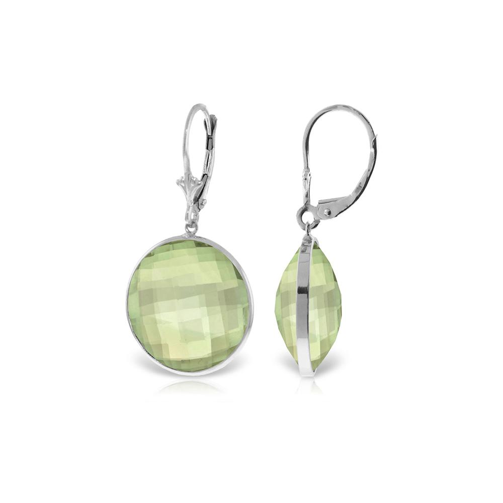 Genuine 36 ctw Green Amethyst Earrings Jewelry 14KT White Gold - REF-80V4W