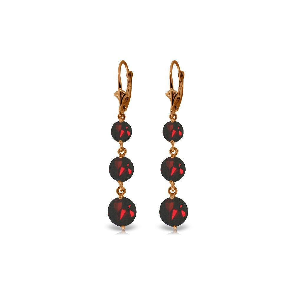 Genuine 7.2 ctw Garnet Earrings Jewelry 14KT Rose Gold - REF-42H6X