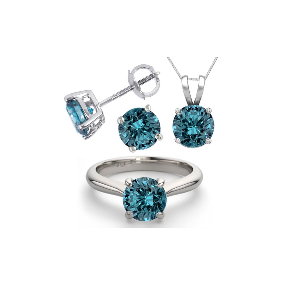 14K White Gold SET 6.0CTW Blue Diamond Ring, Earrings, Necklace - REF-1349X5F-WJ13348