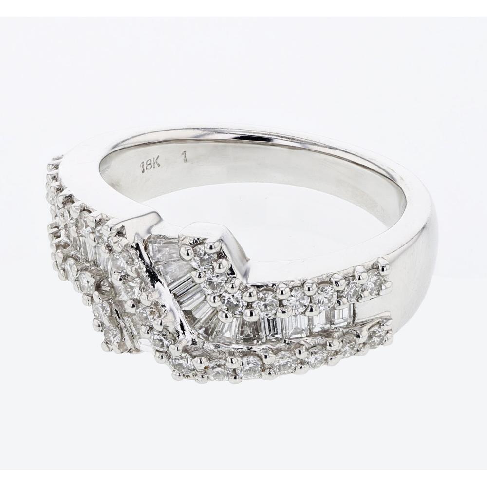 Natural 1.1 CTW Diamond Ring 18K White Gold - REF-130K3W