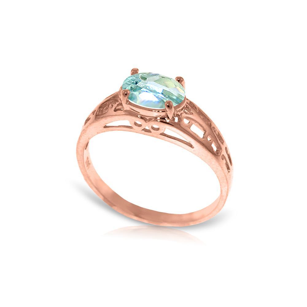 Genuine 1.15 ctw Aquamarine Ring Jewelry 14KT Rose Gold - REF-35Z2N