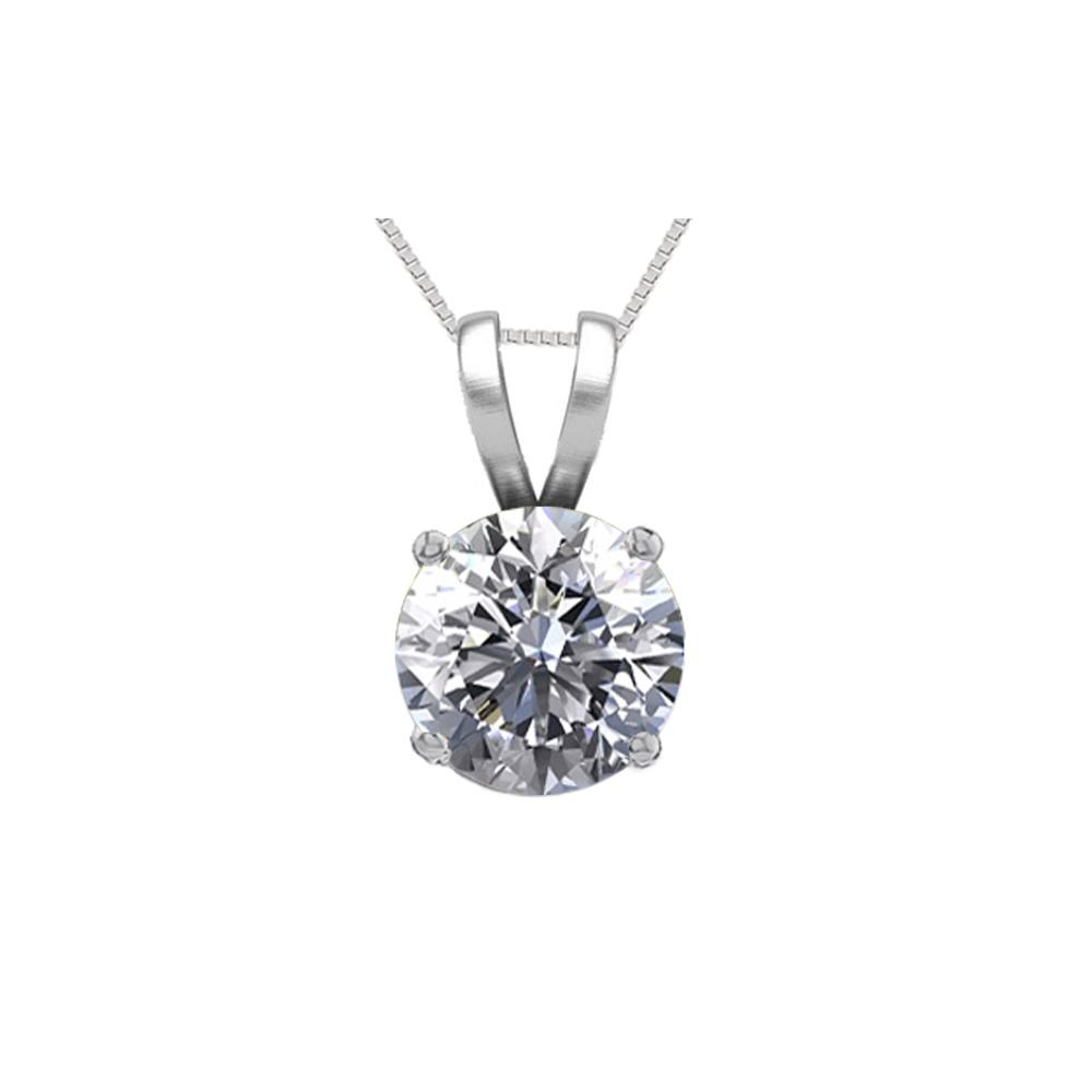 14K White Gold 0.76 ct Natural Diamond Solitaire Necklace - REF-195N6H-WJ13286