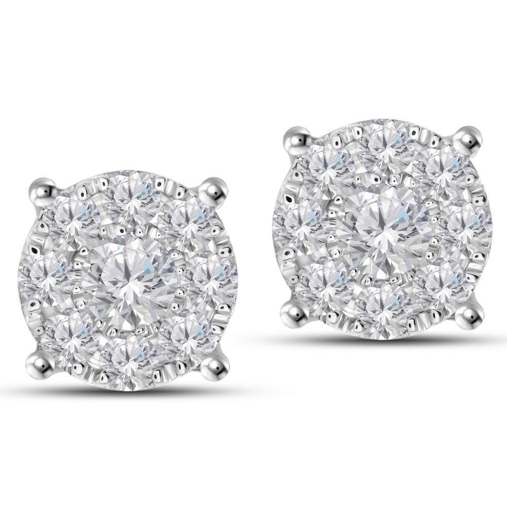 Natural 1.4 CTW Diamond Earrings 14K White Gold - REF-127K8W