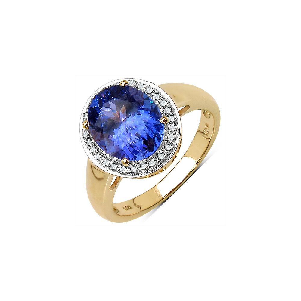 2.80 CTW Tanzanite & Diamond Ring 14K Yellow Gold - REF-131A8V