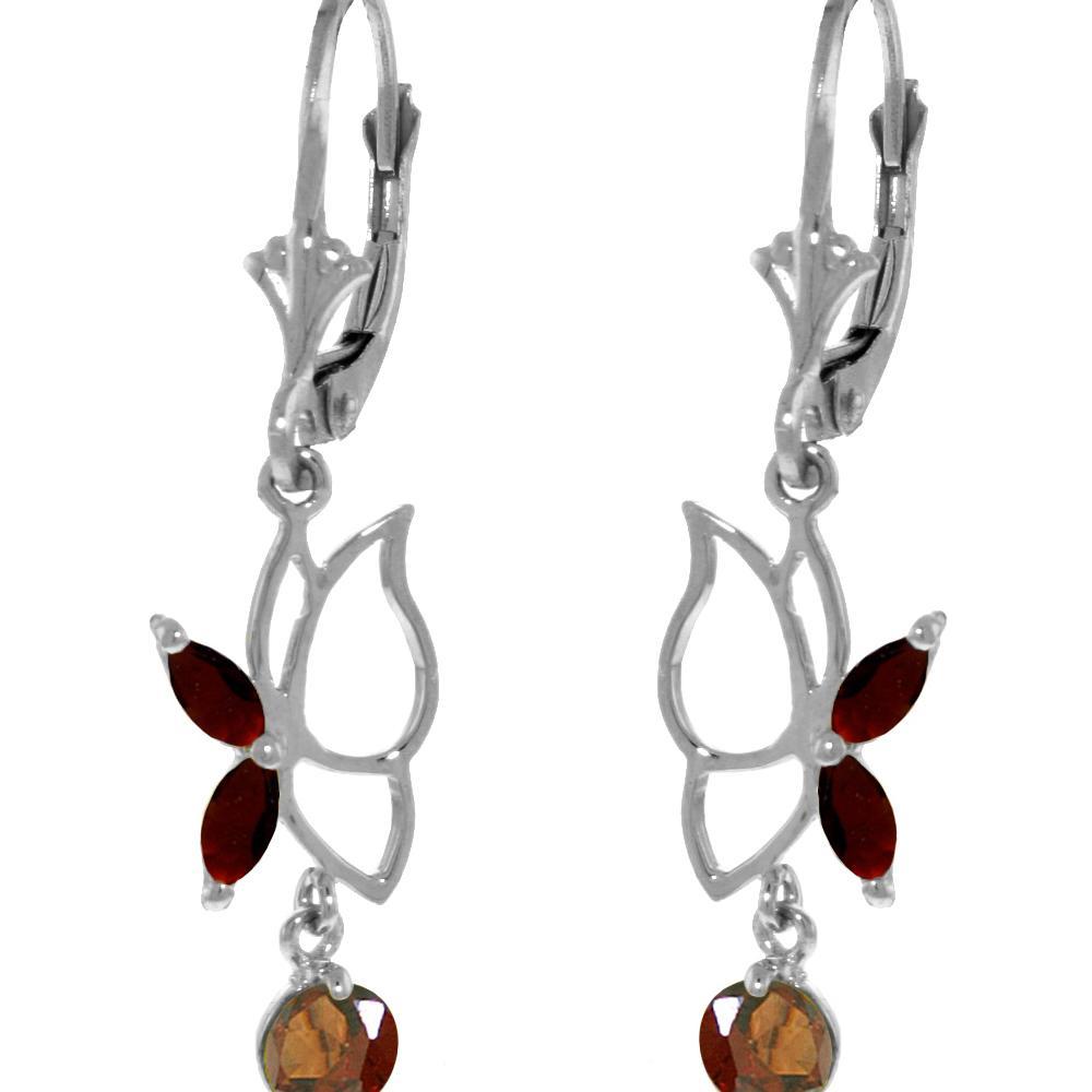 Genuine 0.80 ctw Garnet Earrings Jewelry 14KT White Gold - REF-38H2X