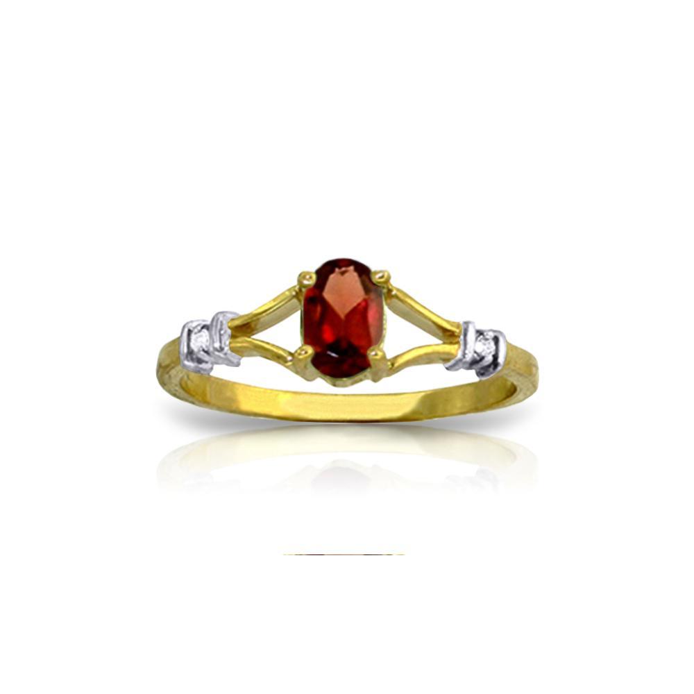 Genuine 0.46 ctw Garnet & Diamond Ring Jewelry 14KT Yellow Gold - REF-27F2Z