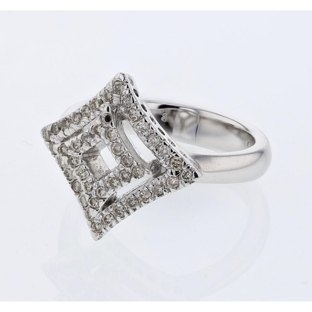 Natural 0.38 CTW Diamond Ring 14K White Gold - REF-50F8N