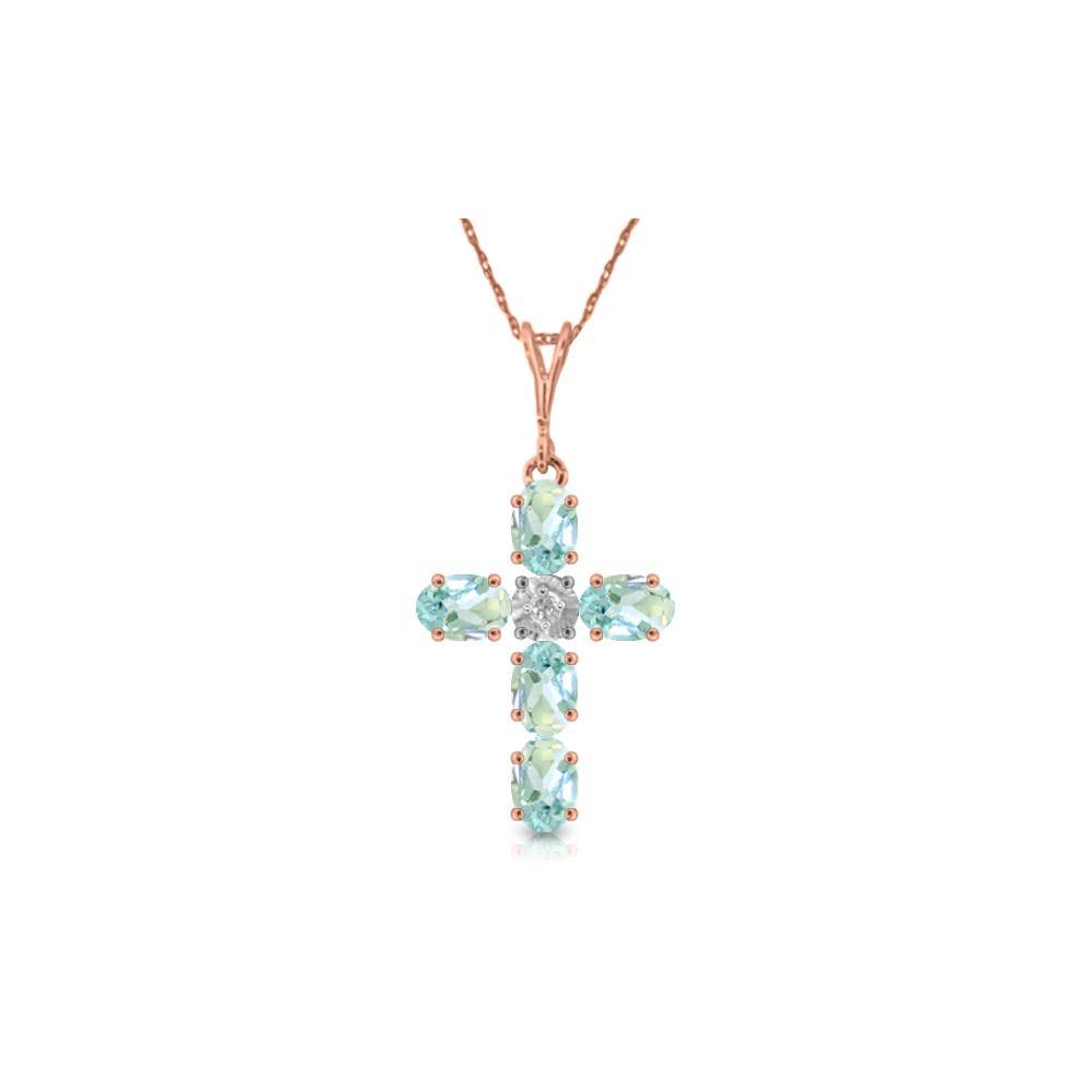 Genuine 1.75 ctw Aquamarine & Diamond Necklace Jewelry 14KT Rose Gold - REF-44P7H
