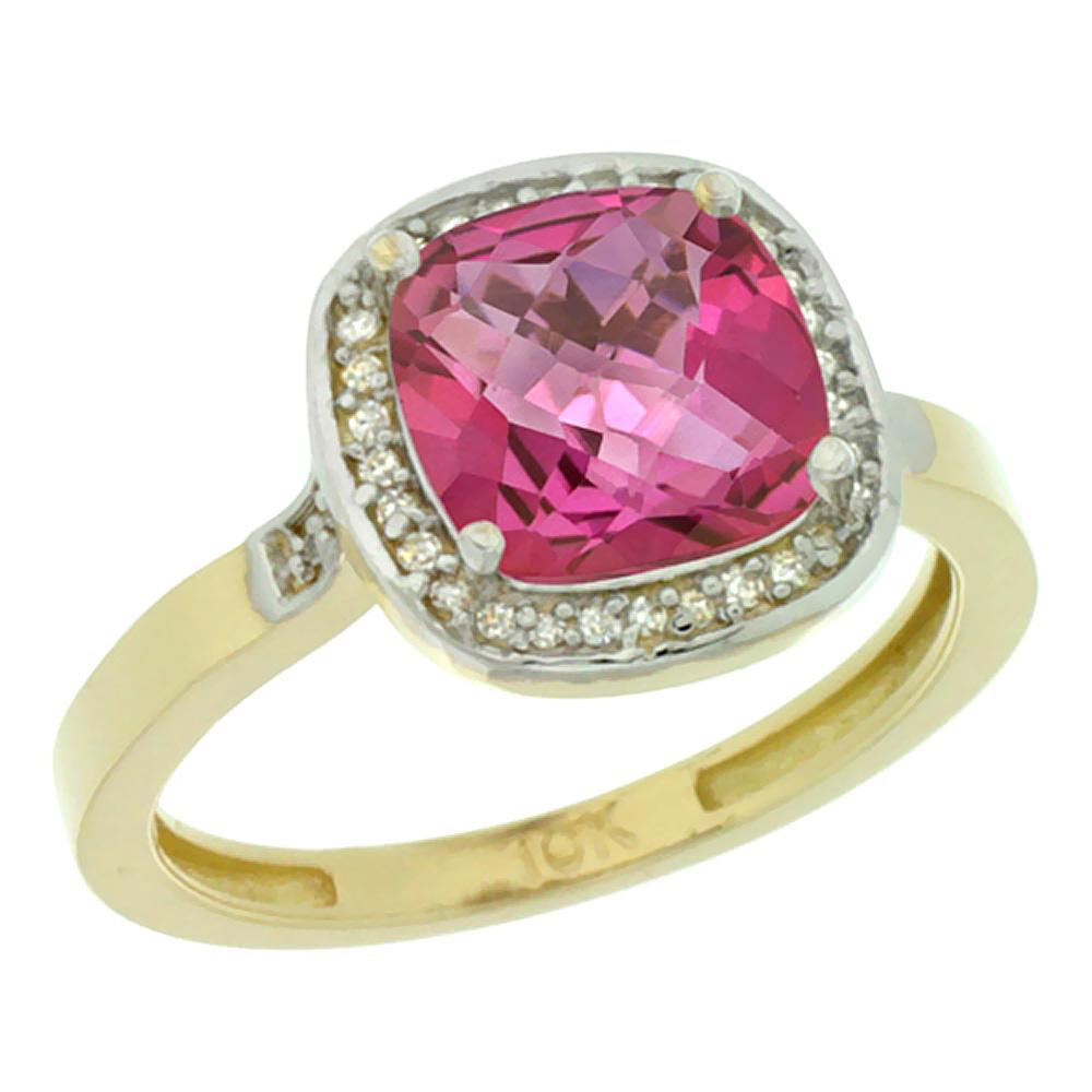 Natural 3.94 ctw Pink-topaz & Diamond Engagement Ring 14K Yellow Gold - REF-38V3F