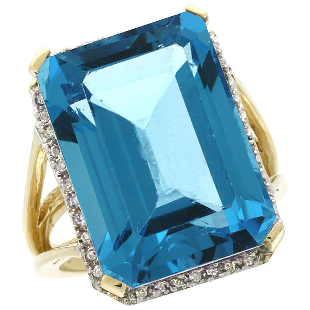 Natural 15.06 ctw Swiss-blue-topaz & Diamond Engagement Ring 14K Yellow Gold - REF-81H9W