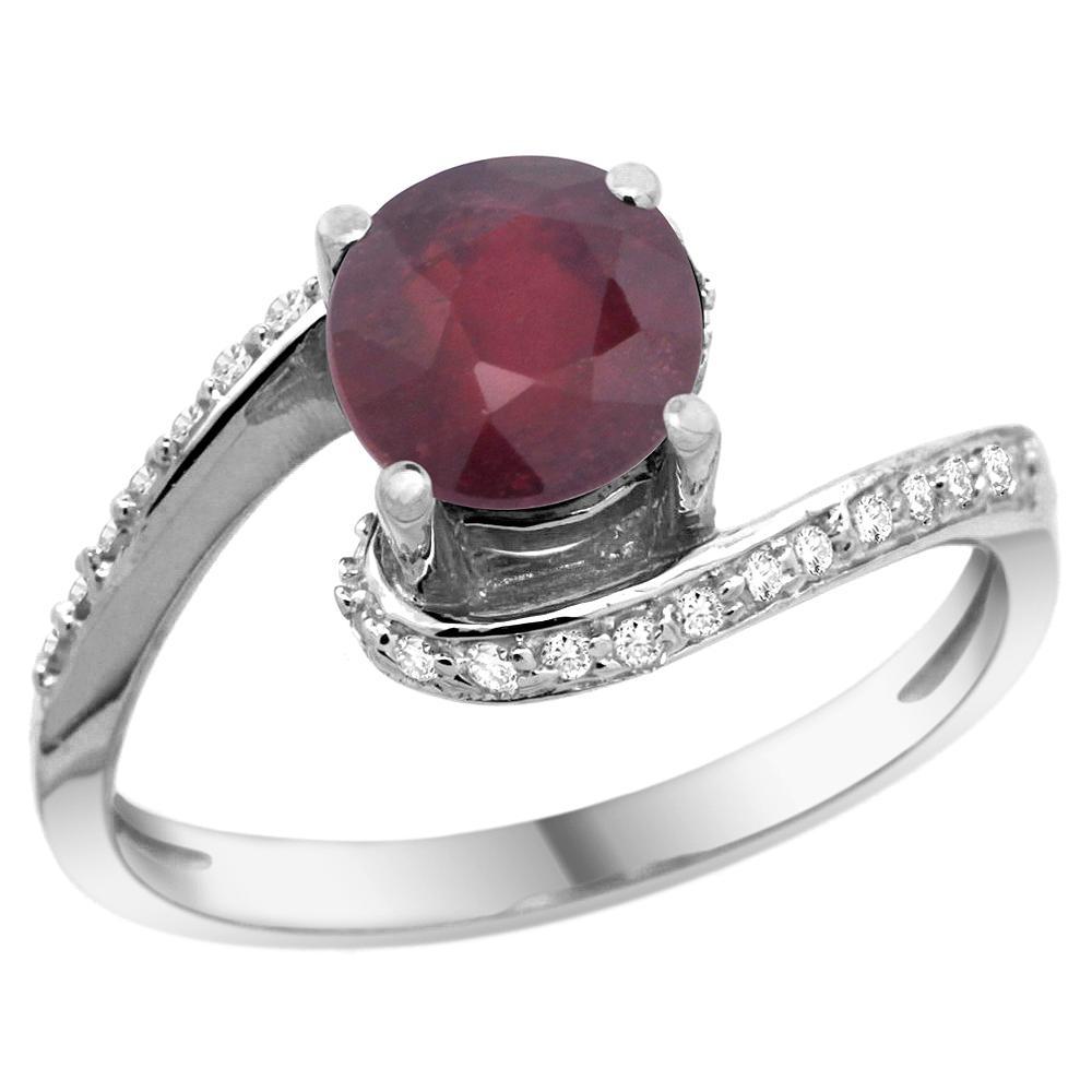 Natural 1.29 ctw ruby & Diamond Engagement Ring 10K White Gold - REF-43K3R