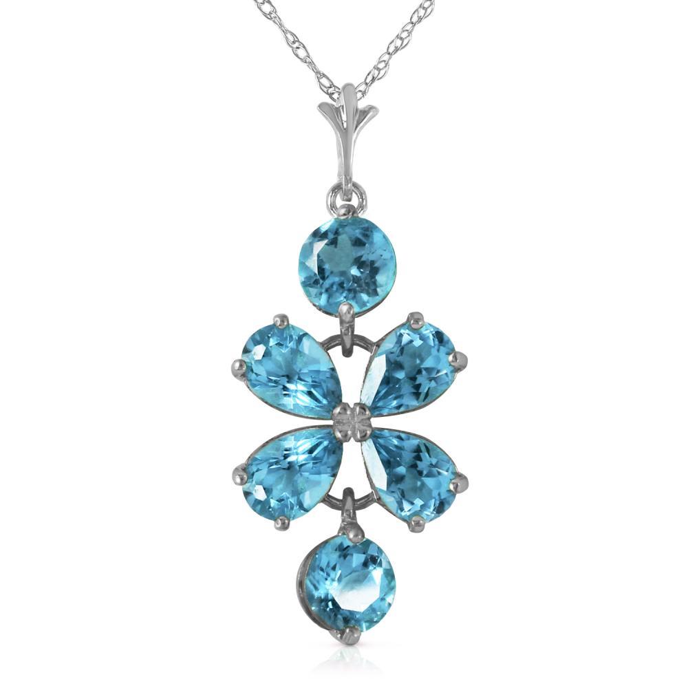 Genuine 3.15 ctw Blue Topaz Necklace Jewelry 14KT White Gold - REF-30Z3N