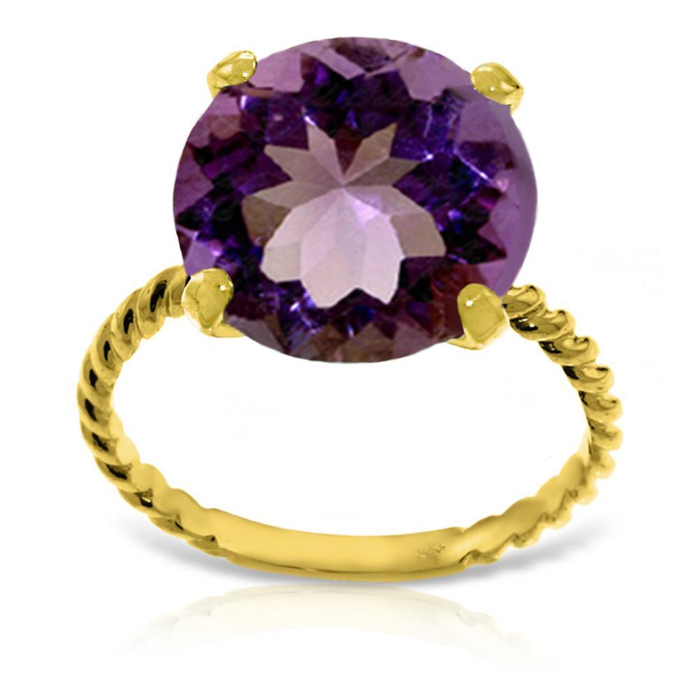 Genuine 5.5 ctw Amethyst Ring Jewelry 14KT Yellow Gold - REF-37Y2F