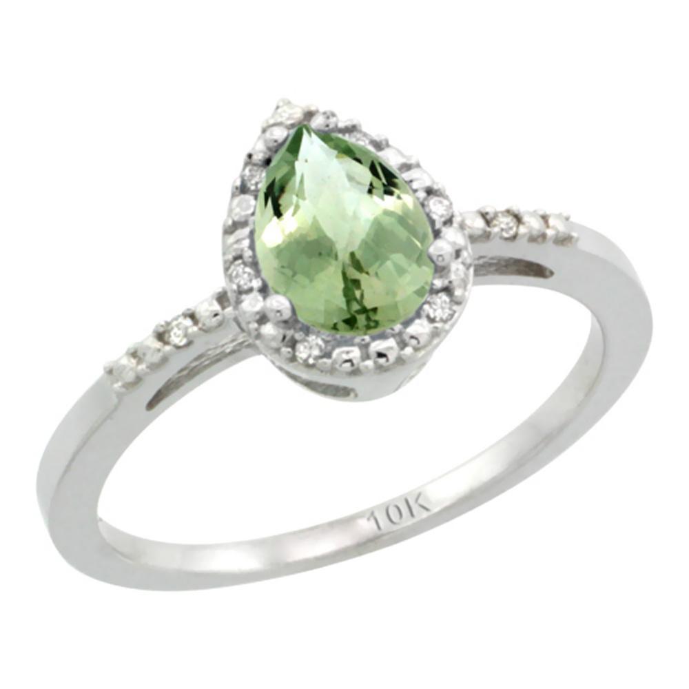 Natural 1.53 ctw green-amethyst & Diamond Engagement Ring 14K White Gold - REF-25F5N
