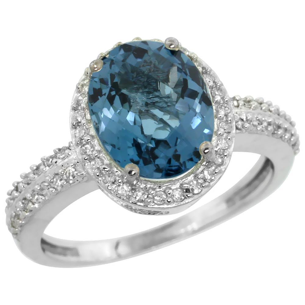 Natural 2.56 ctw London-blue-topaz & Diamond Engagement Ring 10K White Gold - REF-33A6V