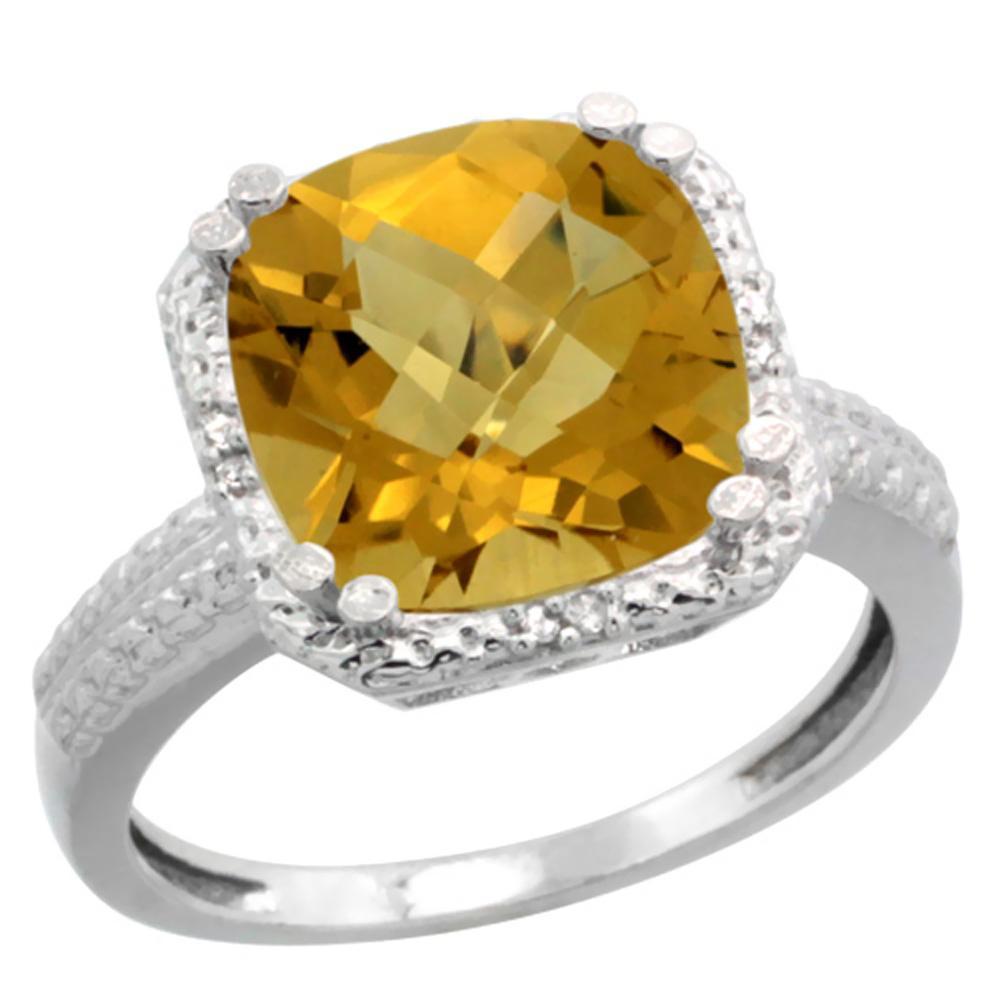 Natural 5.96 ctw Whisky-quartz & Diamond Engagement Ring 10K White Gold - REF-30N2G