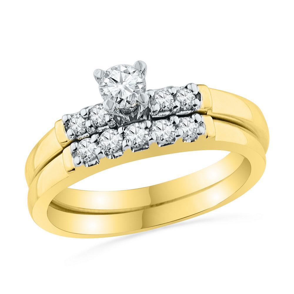 0.50 CTW Diamond Bridal Wedding Engagement Ring 10KT Yellow Gold - REF-59N9F
