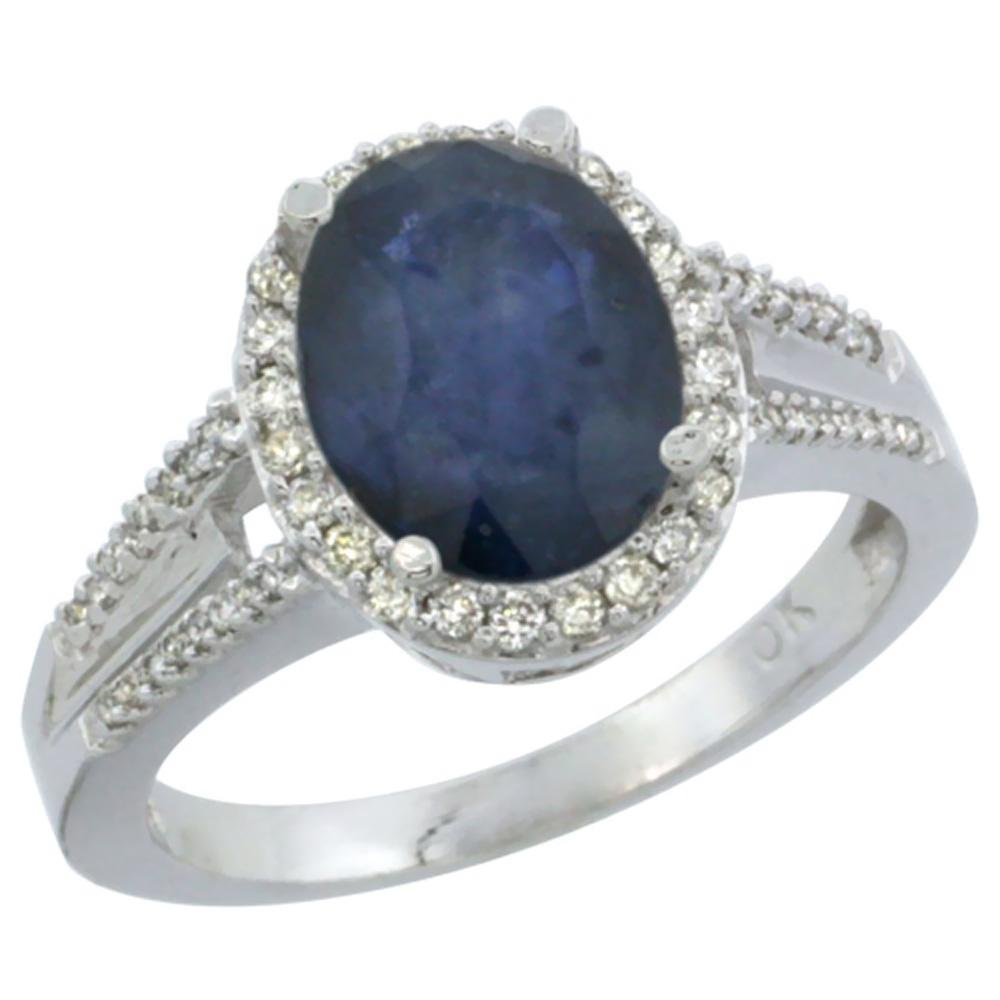 Natural 2.72 ctw blue-sapphire & Diamond Engagement Ring 14K White Gold - REF-114Z5Y