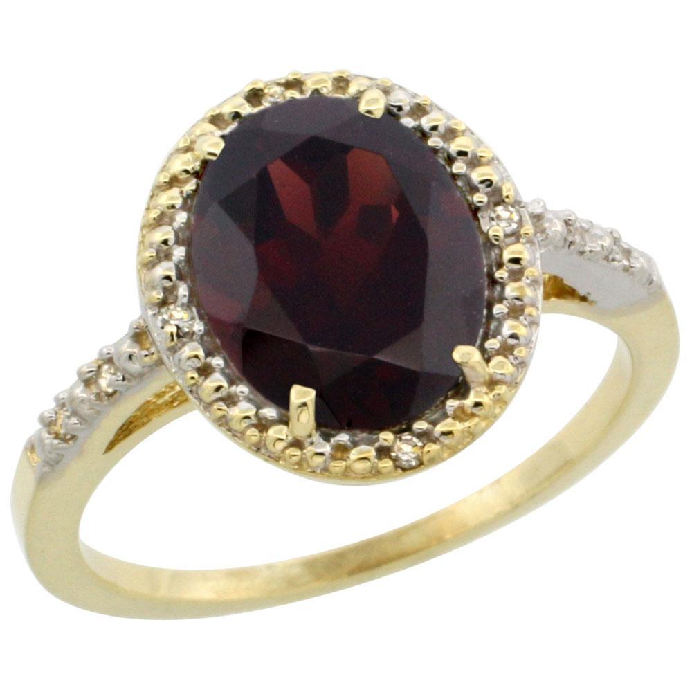 Natural 2.42 ctw Garnet & Diamond Engagement Ring 10K Yellow Gold - REF-28M4H