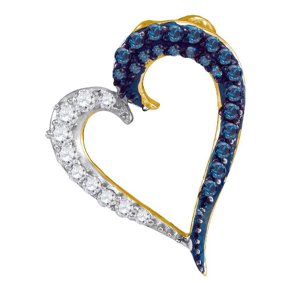 0.25 CTW Blue Color Diamond Heart Love Pendant 10KT Yellow Gold - REF-13K4W