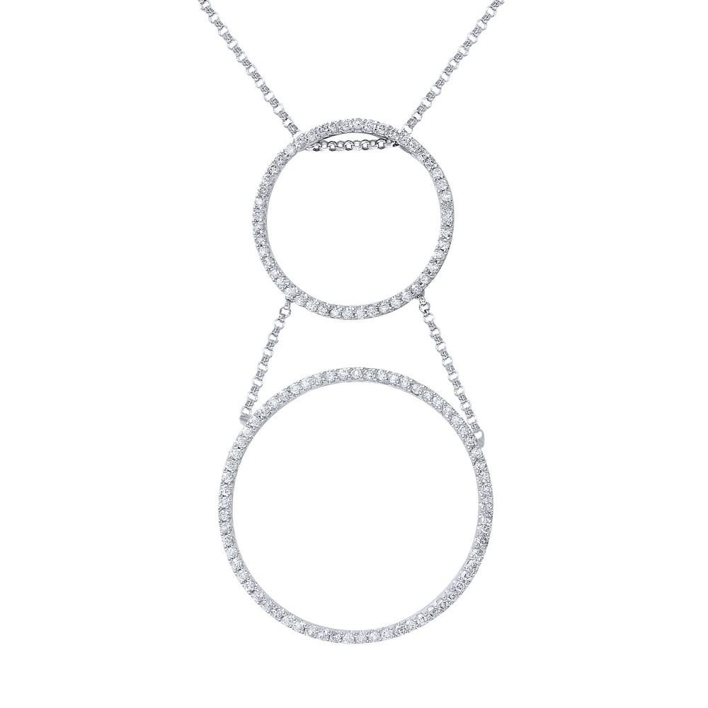 Natural 1.44 CTW Diamond Necklace 18K White Gold - REF-133Y9X