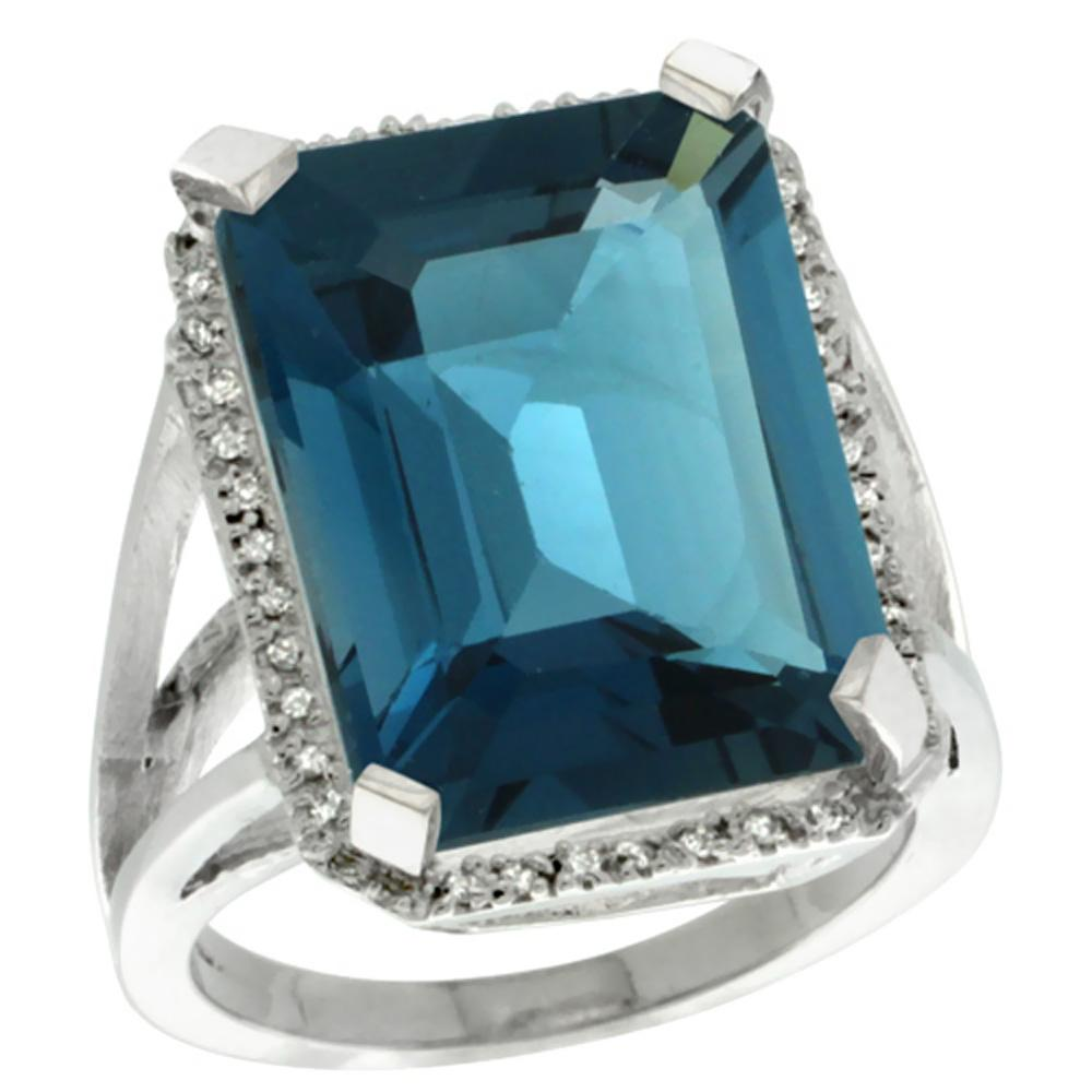 Natural 15.06 ctw London-blue-topaz & Diamond Engagement Ring 10K White Gold - REF-69A3V