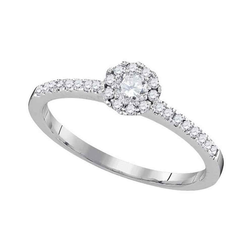 0.33 CTW Diamond Solitaire Slender Halo Bridal Ring 10KT White Gold - REF-34M4H