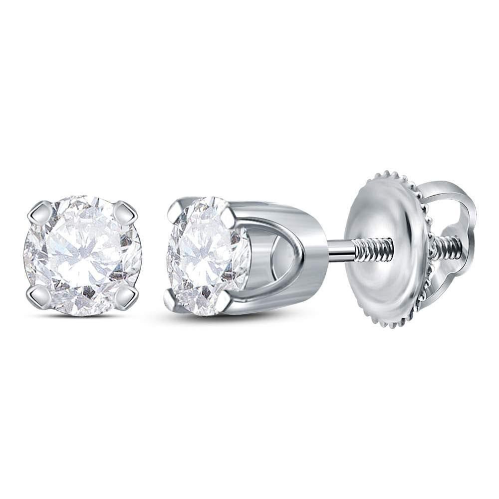 0.39 CTW Diamond Solitaire Stud Earrings 14KT White Gold - REF-37Y5X