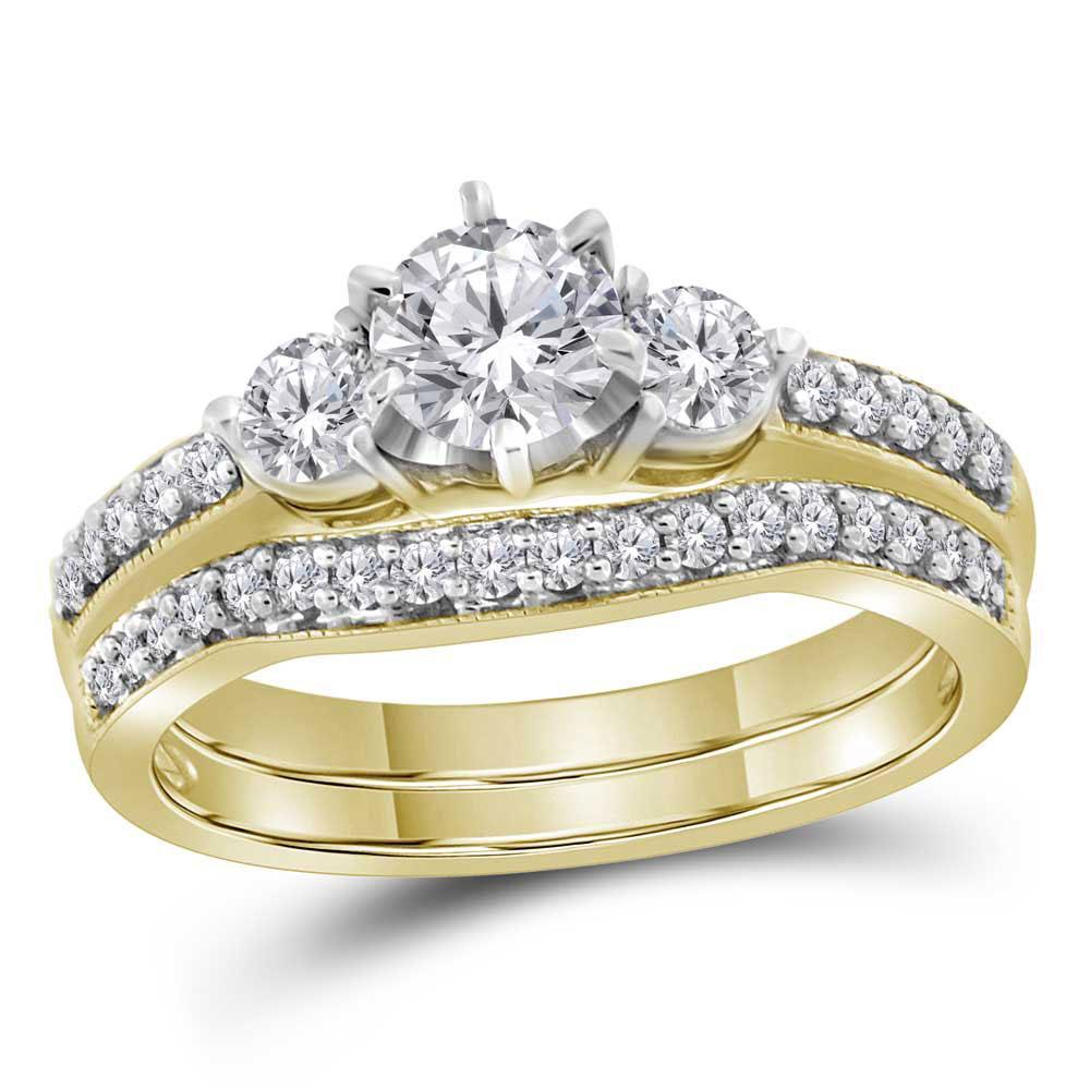 1 CTW Diamond 3-stone Bridal Engagement Ring 14KT Yellow Gold - REF-224M9H