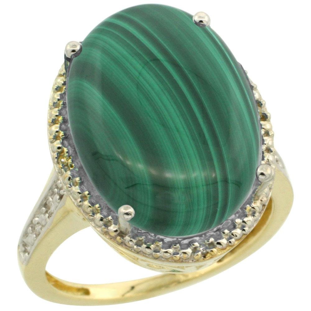 Natural 14.04 ctw Malachite & Diamond Engagement Ring 14K Yellow Gold - REF-58V9F