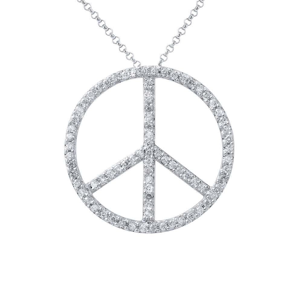 Natural 0.93 CTW Diamond Necklace 14K White Gold - REF-57F3N