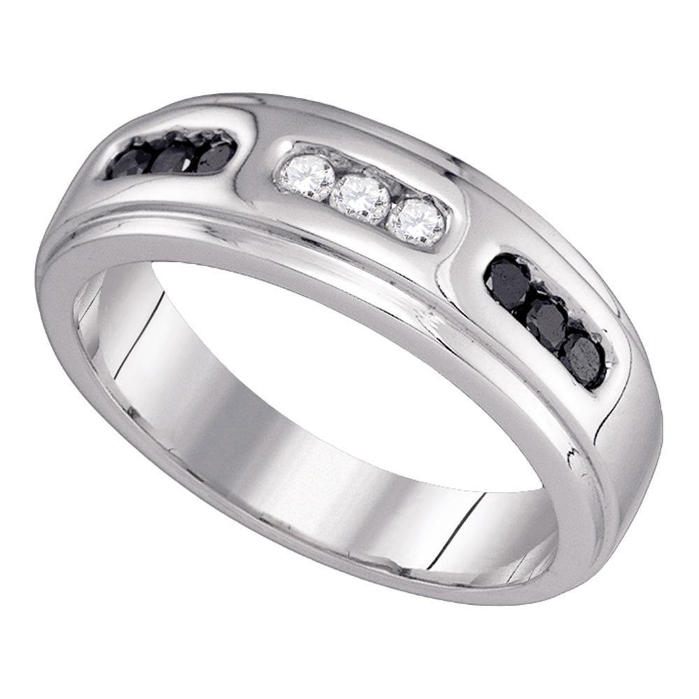 0.35 CTW Black Color Diamond Channel-set Mens Anniversary Ring 10KT White Gold - REF-34M4H