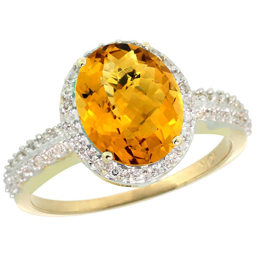 Natural 2.56 ctw Whisky-quartz & Diamond Engagement Ring 10K Yellow Gold - REF-31G9M