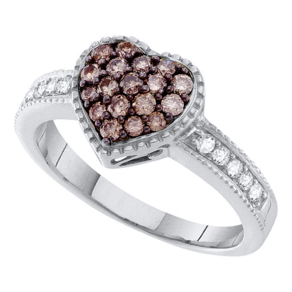 0.45 CTW Cognac-brown Color Diamond Heart Cluster Ring 14KT White Gold - REF-55N5F