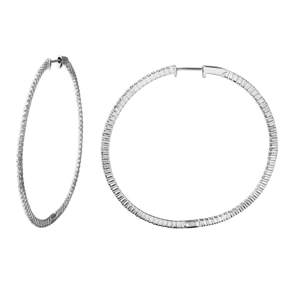 Natural 1.36 CTW Diamond Earrings 14K White Gold - REF-107K2W