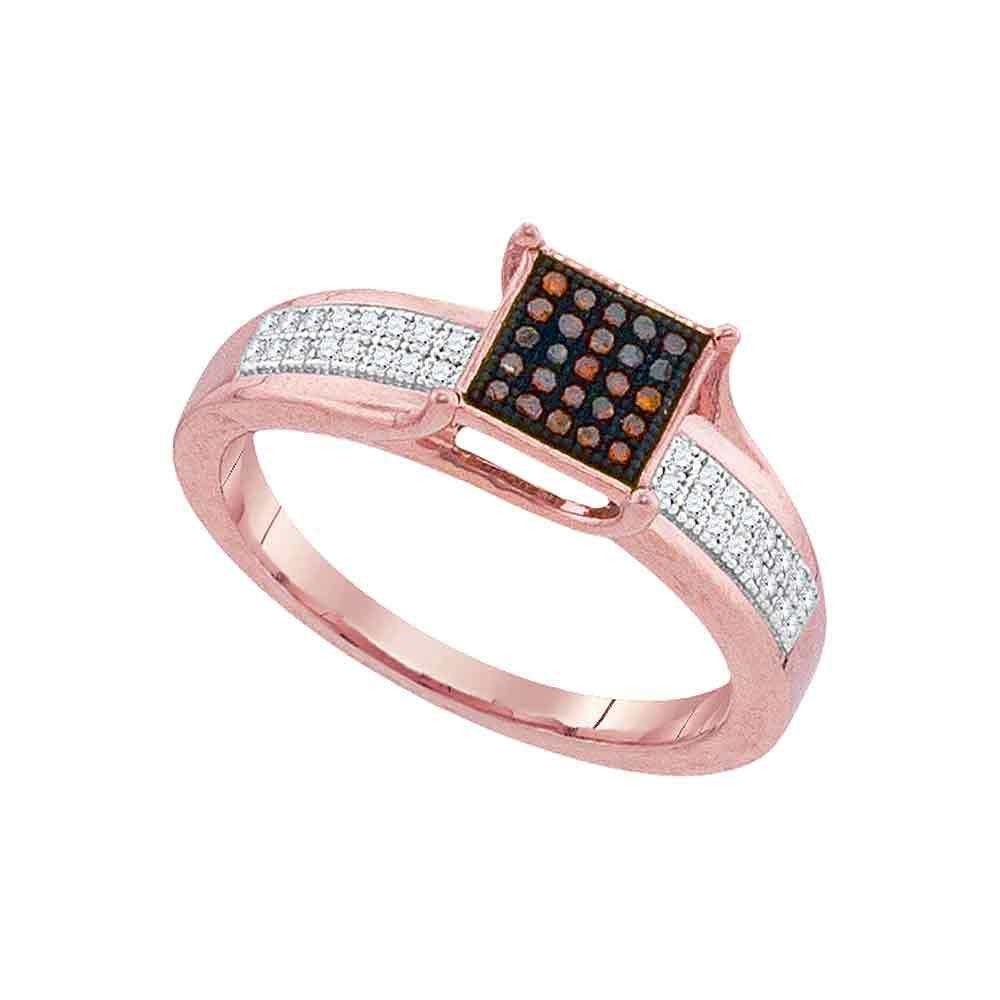 0.15 CTW Red Color Diamond Square Cluster Ring 10KT Rose Gold - REF-24X2Y