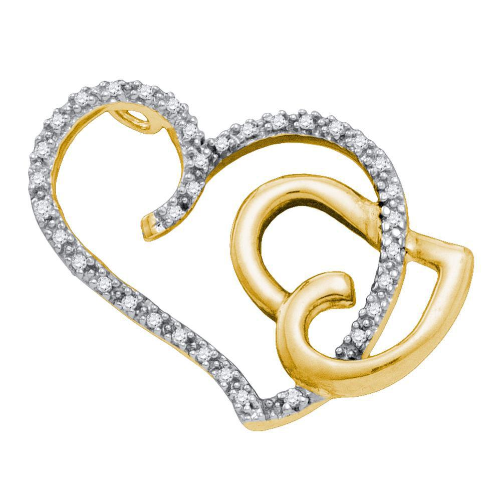 0.16 CTW Diamond Heart Love Pendant 14KT Two-tone Gold - REF-18K2W