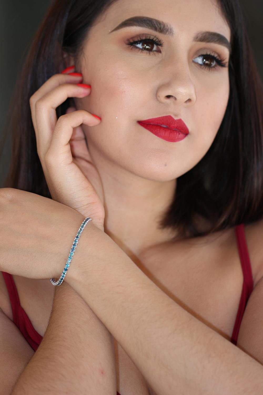 Natural 6.15 ctw Blue Diamond Eternity Tennis Bracelet 14K White Gold - REF-415H2M